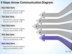 5 Steps Arrow Communication Diagram Ppt Non Profit Business Plan PowerPoint Templates