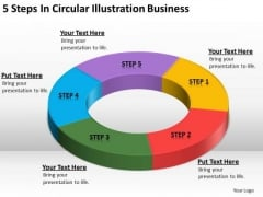 5 Steps In Circular Illustration Business How To Write Plan PowerPoint Slides