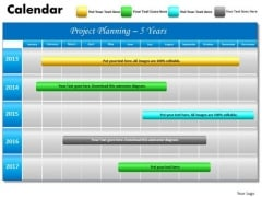 5 Year Planning Gantt Chart PowerPoint Slides Gantt Ppt Templates