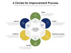 6 Circles For Improvement Process Ppt PowerPoint Presentation Gallery Maker PDF