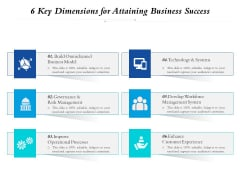 6 Key Dimensions For Attaining Business Success Ppt PowerPoint Presentation Gallery Deck PDF