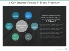 6 Key Success Factors In Brand Promotion Ppt PowerPoint Presentation Styles