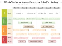 6 Month Timeline For Business Management Action Plan Roadmap Themes