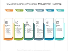6 Months Business Investment Management Roadmap Pictures
