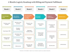 6 Months Logistic Roadmap With Billing And Payment Fulfillment Sample