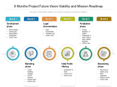 6 Months Project Future Vision Viability And Mission Roadmap Slides