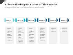 6 Months Roadmap For Business ITSM Execution Elements
