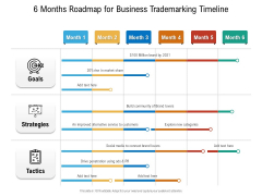 6 Months Roadmap For Business Trademarking Timeline Infographics