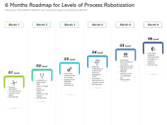 6 Months Roadmap For Levels Of Process Robotization Icons