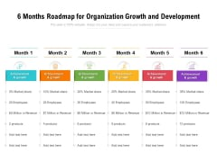 6 Months Roadmap For Organization Growth And Development Summary