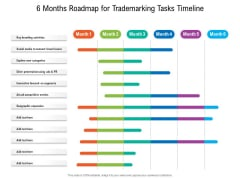 6 Months Roadmap For Trademarking Tasks Timeline Mockup