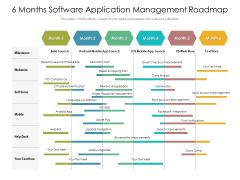 6 Months Software Application Management Roadmap Diagrams
