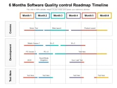 6 Months Software Quality Control Roadmap Timeline Microsoft