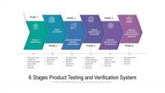 6 Stages Product Testing And Verification System Ppt PowerPoint Presentation Slides Model PDF