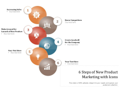 6 Steps Of New Product Marketing With Icons Ppt PowerPoint Presentation Gallery Deck PDF