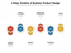 6 Steps Timeline Of Business Product Design Ppt PowerPoint Presentation File Graphics Pictures PDF