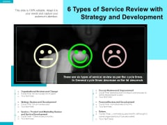 6 Types Of Service Review With Strategy And Development Ppt PowerPoint Presentation Gallery Graphics Template PDF