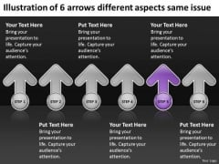 6 Arrows Different Aspects Same Issue Ppt Real Estate Business Plan Template PowerPoint Slides