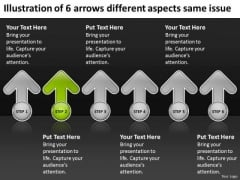 6 Arrows Different Aspects Same Issue Strategic Business Plans PowerPoint Templates
