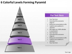 6 Colorful Levels Forming Pyramid Business Plan PowerPoint Templates