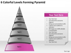 6 Colorful Levels Forming Pyramid Marketing Business Plan Outline PowerPoint Slides