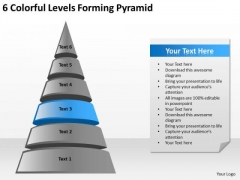 6 Colorful Levels Forming Pyramid Ppt Simple Business Plan Example PowerPoint Slides