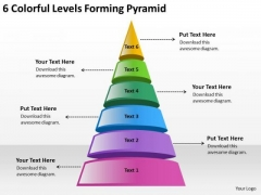 6 Colorful Levels Forming Pyramid Starting Business Plan PowerPoint Templates