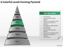 6 Colorful Levels Forming Pyramid Who Writes Business Plans PowerPoint Slides