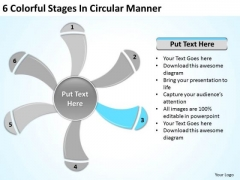 6 Colorful Stages In Circular Manner Business Plan Service PowerPoint Slides