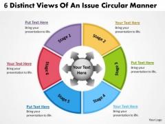 6 Distinct Views Of An Issue Circular Manner Flow Chart PowerPoint Slides