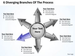6 Diverging Branches Of The Process Ppt Relative Circular Arrow Chart PowerPoint Templates
