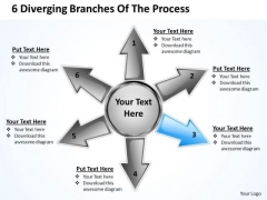 6 Diverging Branches Of The Process Relative Circular Arrow Chart PowerPoint Templates