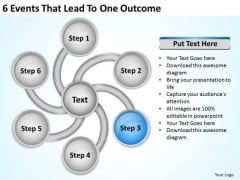 6 Events That Lead To One Outcome Business Plan Template Free PowerPoint Templates
