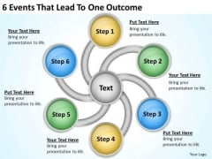 6 Events That Lead To One Outcome Business Plan Template PowerPoint Templates