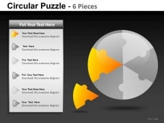 6 Piece Circles Each Piece Separate PowerPoint Slides And Ppt Diagram Templates