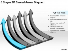 6 Stages 3d Curved Arrow Diagram Business Plan Template For Restaurant PowerPoint Slides