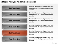 6 Stages Analysis And Implementation Build Business Plan PowerPoint Slides