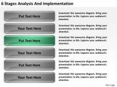 6 Stages Analysis And Implementation Business Plan PowerPoint Slides