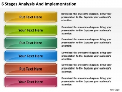 6 Stages Analysis And Implementation Small Business Plans PowerPoint Slides