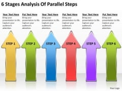 6 Stages Analysis Of Parallel Steps Magazine Business Plan PowerPoint Slides