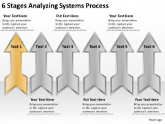6 Stages Analyzing Systems Process Format Business Plan PowerPoint Slides