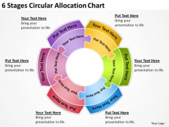 6 Stages Circular Allocation Chart Write Business Plan Template PowerPoint Slides