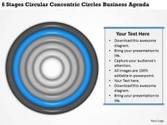 6 Stages Circular Concentric Circles Business Agenda Plan PowerPoint Templates