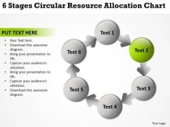 6 Stages Circular Resource Allocation Chart Business Plan Outline Template PowerPoint Slides