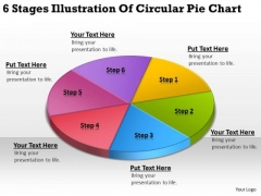 6 Stages Illustration Of Circular Pie Chart Simple Business Plan PowerPoint Slides