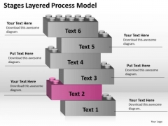 6 Stages Layered Process Model Business Plan Sample PowerPoint Slides