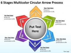 6 Stages Multicolor Circular Arrow Process Restaurant Business Plan PowerPoint Slides