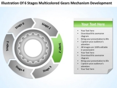 6 Stages Multicolored Gears Mechanism Development It Business Plan PowerPoint Slides