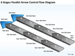 6 Stages Parallel Arrow Control Flow Diagram Ice Cream Business Plan PowerPoint Slides