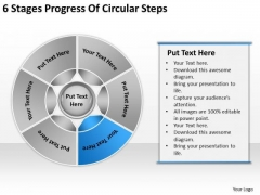 6 Stages Progress Of Circular Steps Business Plan Examples PowerPoint Slides